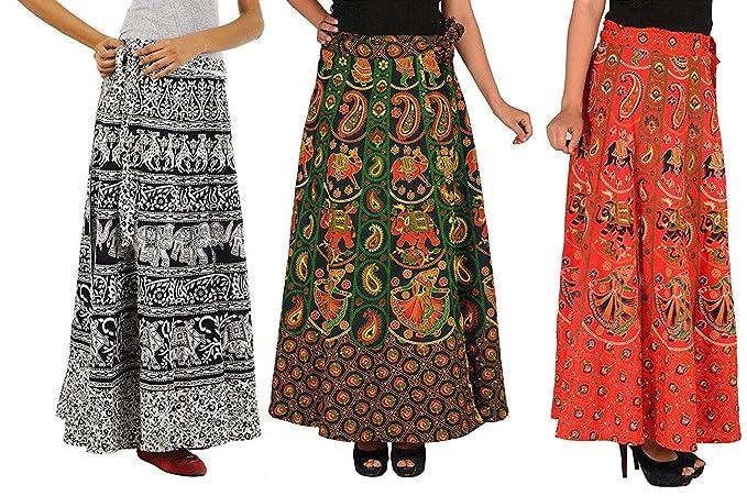fc02effaff BILOCHI'S Women's Cotton Assorted Design Wrap Around Skirts Combo of 3  Skirts(Size: Free