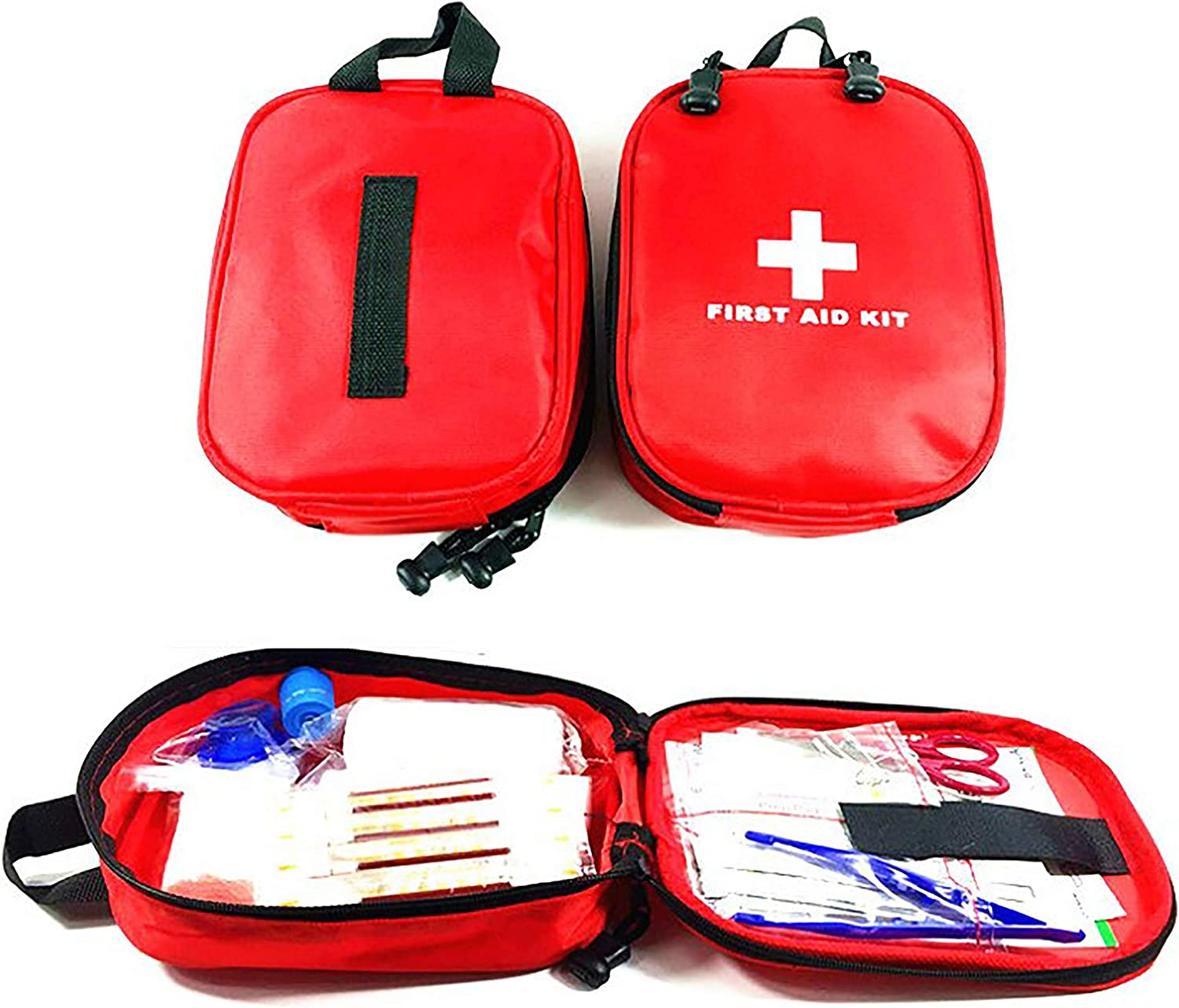 SCHOLMART First Aid Kit Pouch Tote, Small Storage Compact, Portable Emergency Survival Medicine Bag, Home Office Travel Healing Pack, Camping Sport Hiking Gym Pack (Red Packet - 100 Pieces)