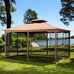 Sunjoy L-GZ531PST-C-T Fabric Replacement Mosquito Netting fits 10 x 12 Gazebos, Brown