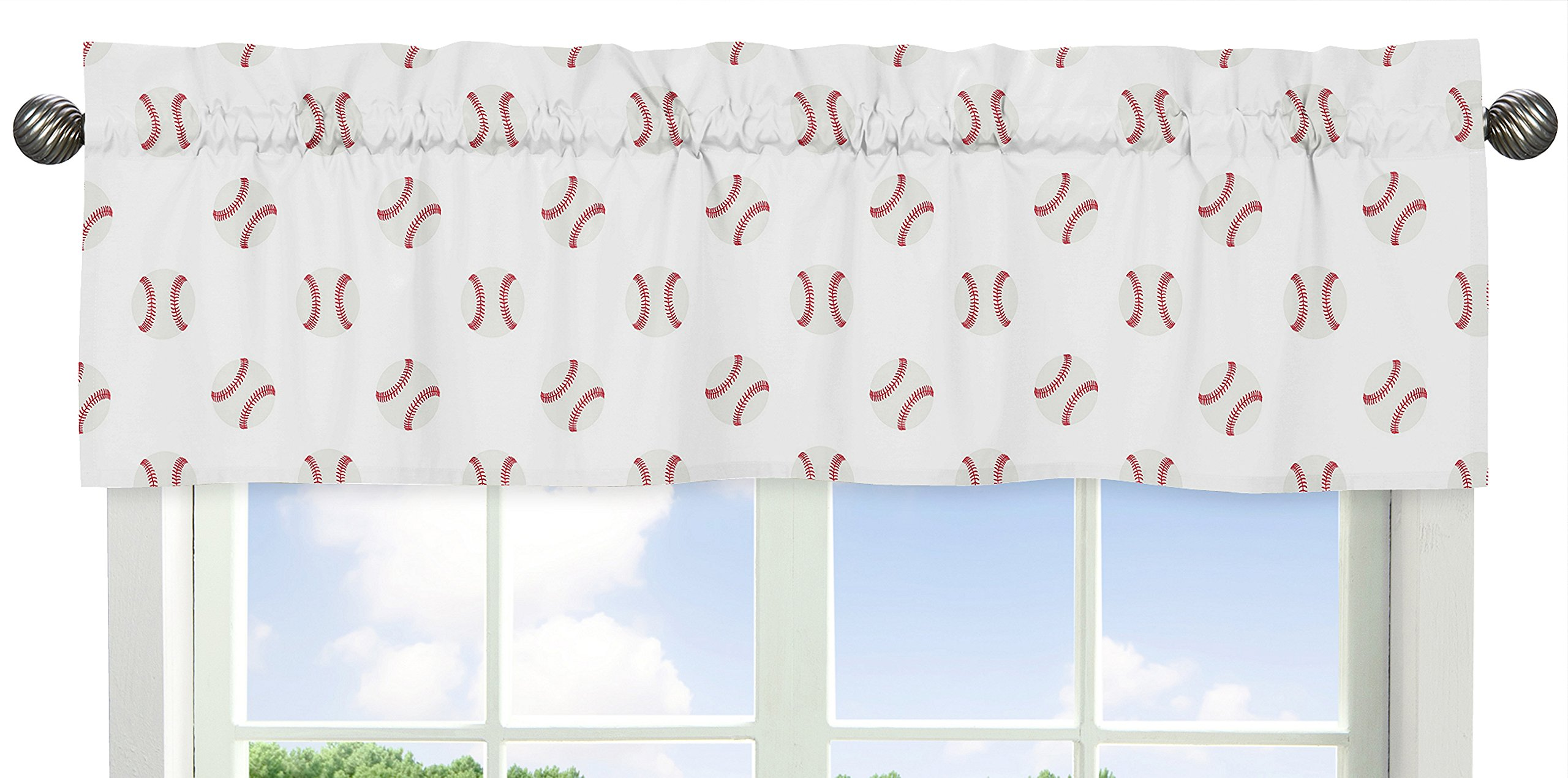 Sweet JoJo Designs Red and White Window Treatment Valance for Baseball Patch Sports Collection