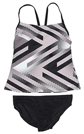 c3f03808f0318 Nike Women's Tankini Athletic 2-Piece Swimsuit (Small, Grey/White/Black
