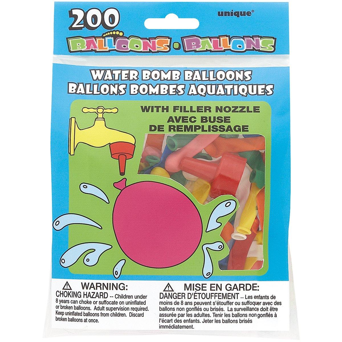 Water Bomb Balloons W/Nozzle 200/Pkg-Multicolor Unique Industries