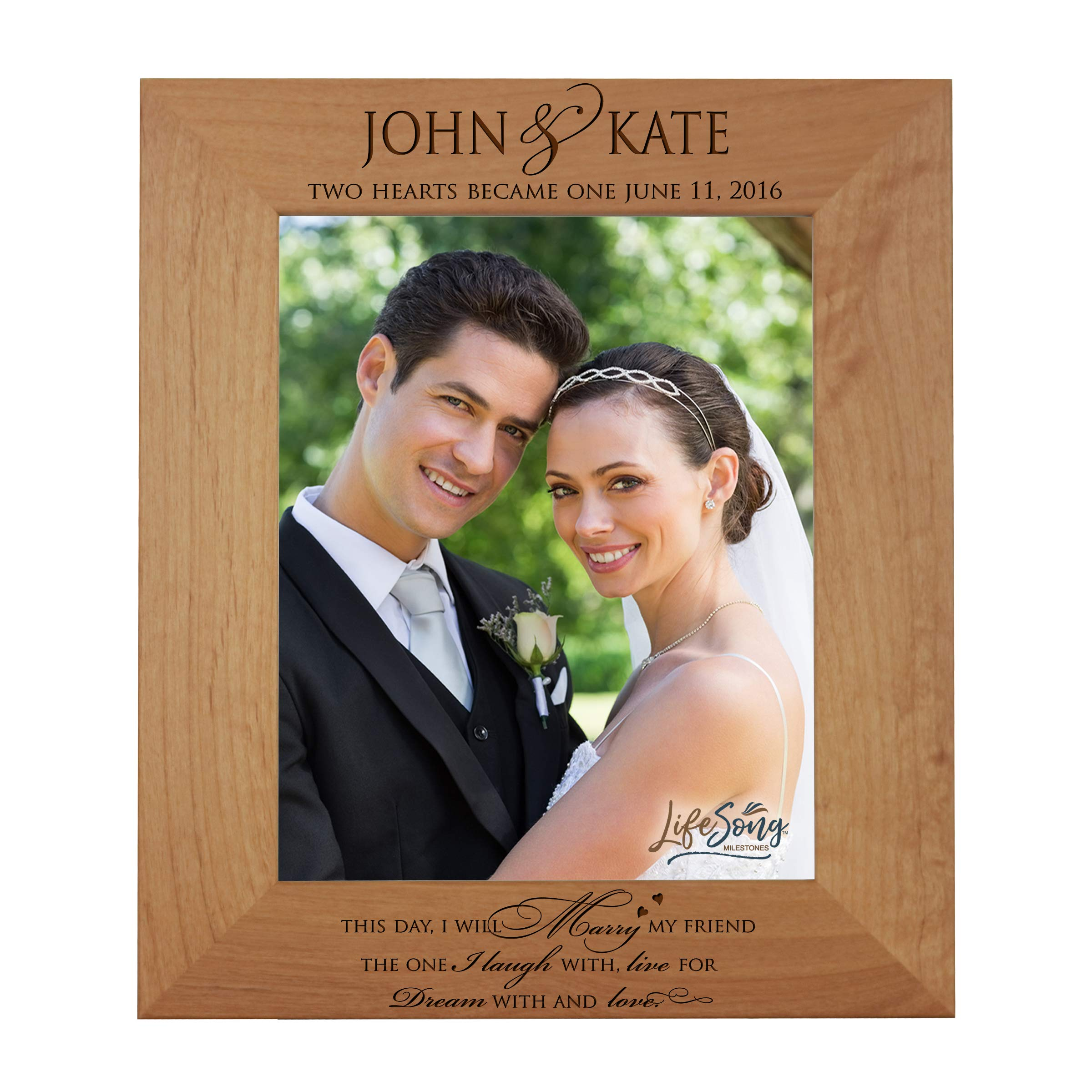 LifeSong Milestones Personalized 8x10 Picture Frame with Glass Made of Solid Wood for Wedding Anniversary or Engagement Gift for Couple Tabletop or Wall Mounting (I Will Marry)