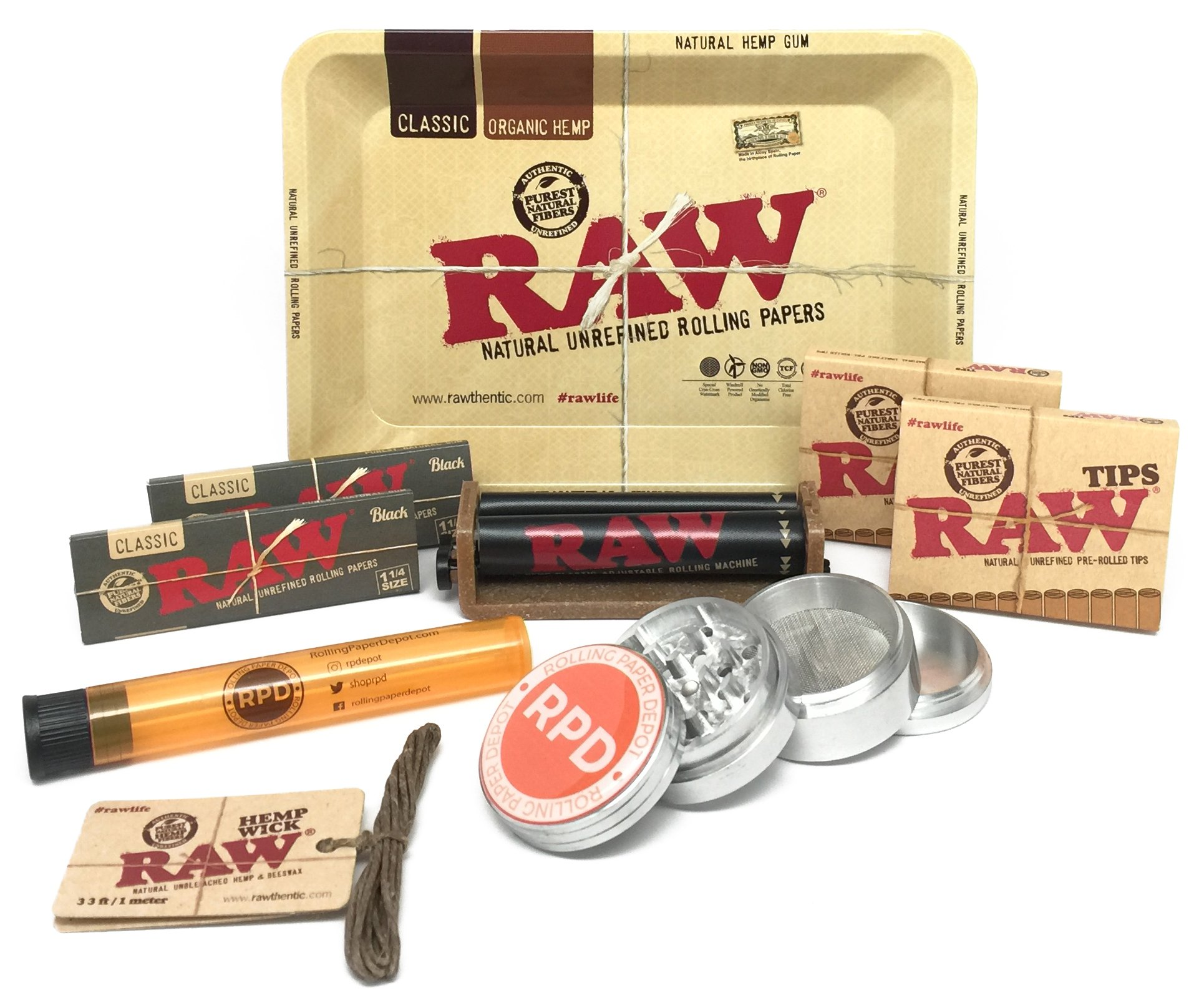 Bundle - 9 Items - RAW Black Rolling Paper, Pre-Rolled Tips, Mini Rolling Tray, Roller and Hemp wick with RPD Grinder and Doob Tube