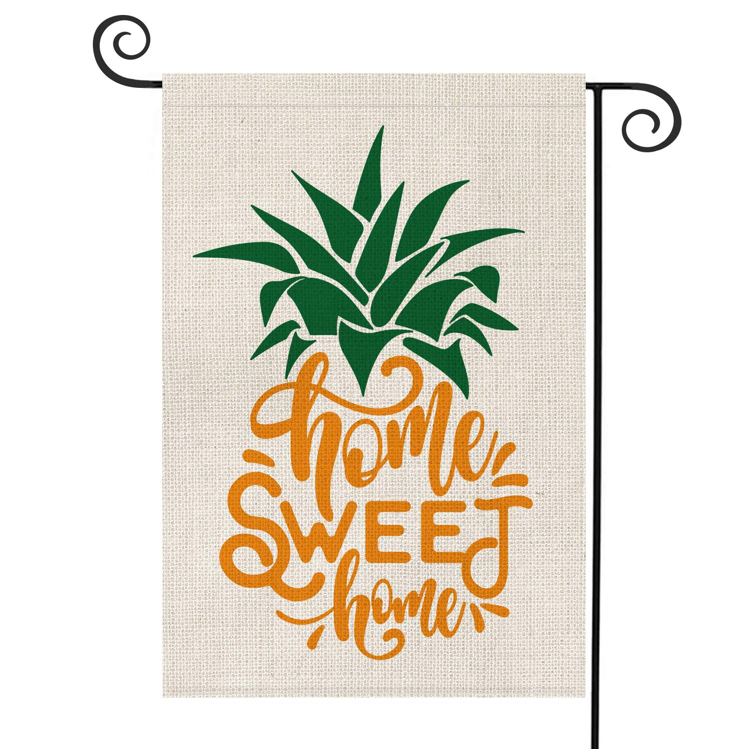 AVOIN Home Sweet Home Pineapple Garden Flag Vertical Double Sided, Seasonal Summer Rustic Hawaiian Burlap Yard Outdoor Decoration 12.5 x 18 Inch