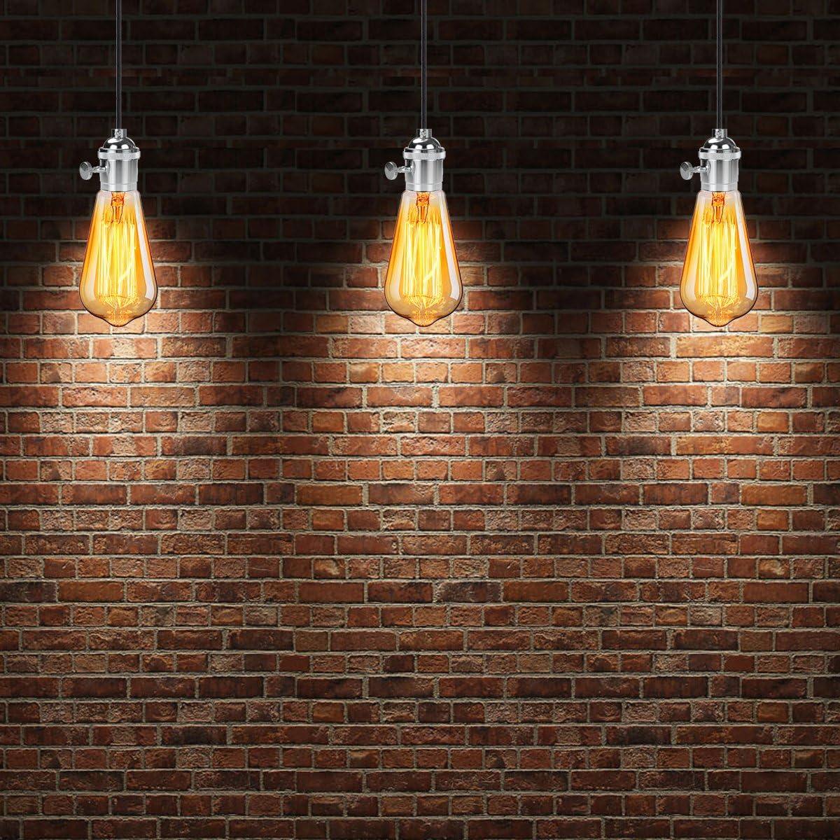 Schwarz GreenSun LED Lighting 10er Kupfer Lampenfassung E27 Fassung Vintage Edison Lampe Halter Retro Fassungen Lampensockel mit Schalter f/ür Pendelleuchte H/ängelampe