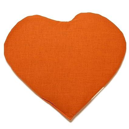 Saquito térmico en corazón 30x25 naranja | Almohadilla ...
