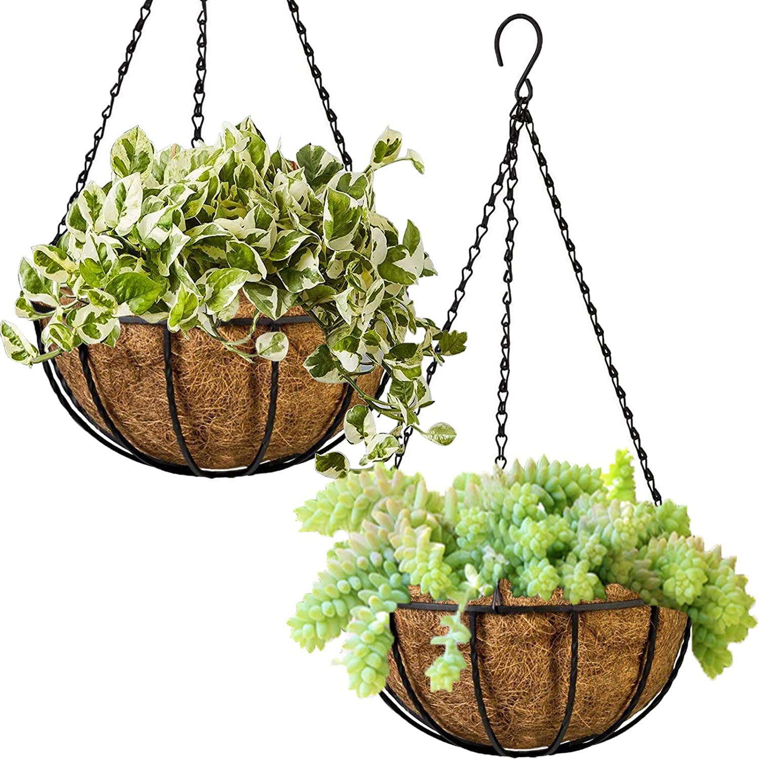 Dokimiya Metal Hanging Planter Basket Flower Pot with Coconut Coir Liner 8 Inch Round Wire Plant Holder with Chain for Indoor Outdoor Garden Home Balcony Office Decor, 2 Pack