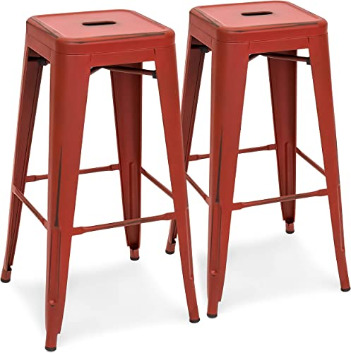 Best Choice Products 30in Metal Modern Industrial Bar Stools w/Drainage Hole