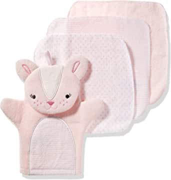 Lurrose 3 Pieces Baby Cotton Wash Cloth Toddler Shower Gloves Bath Rubbing Pad Mixed Colour