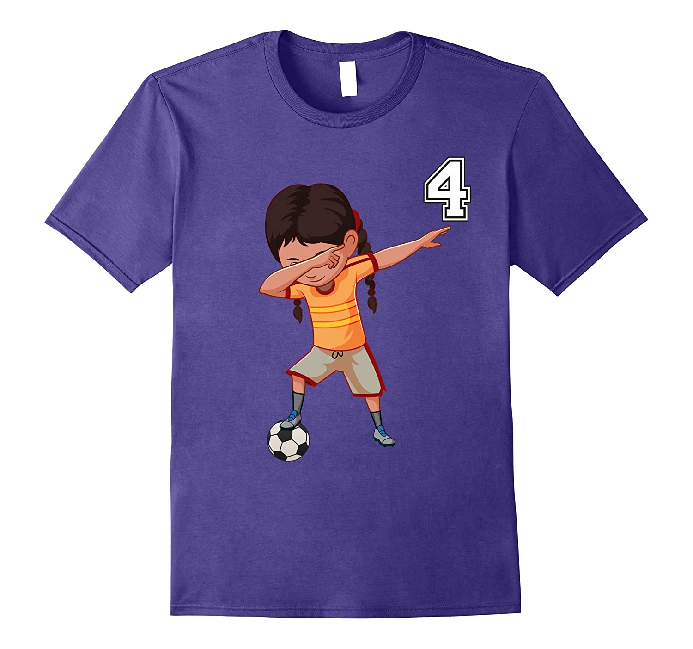 #4 Soccer Shirt Girls Funny Dabbing Dab Dance Soccer Ball-T-Shirt