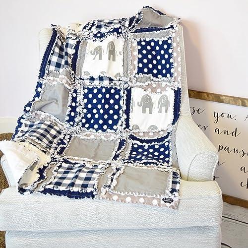 Amazon com: Elephant Blanket - Gray / Navy - QUILT Only: Handmade
