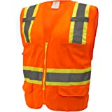RK Safety 9811 Two Tone High Visibility Safety Vest with Reflective Strips and Pockets - ANSI/ ISEA Standard- Class 2 (Small, Neon Orange)