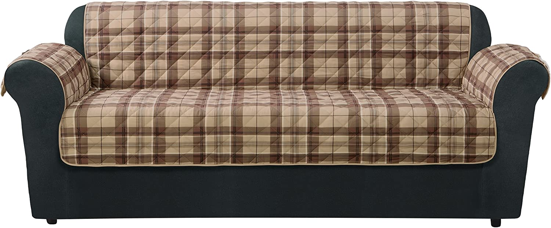 SureFit Highland Plaid Sofa Pet Throw/Slipcover, Tan
