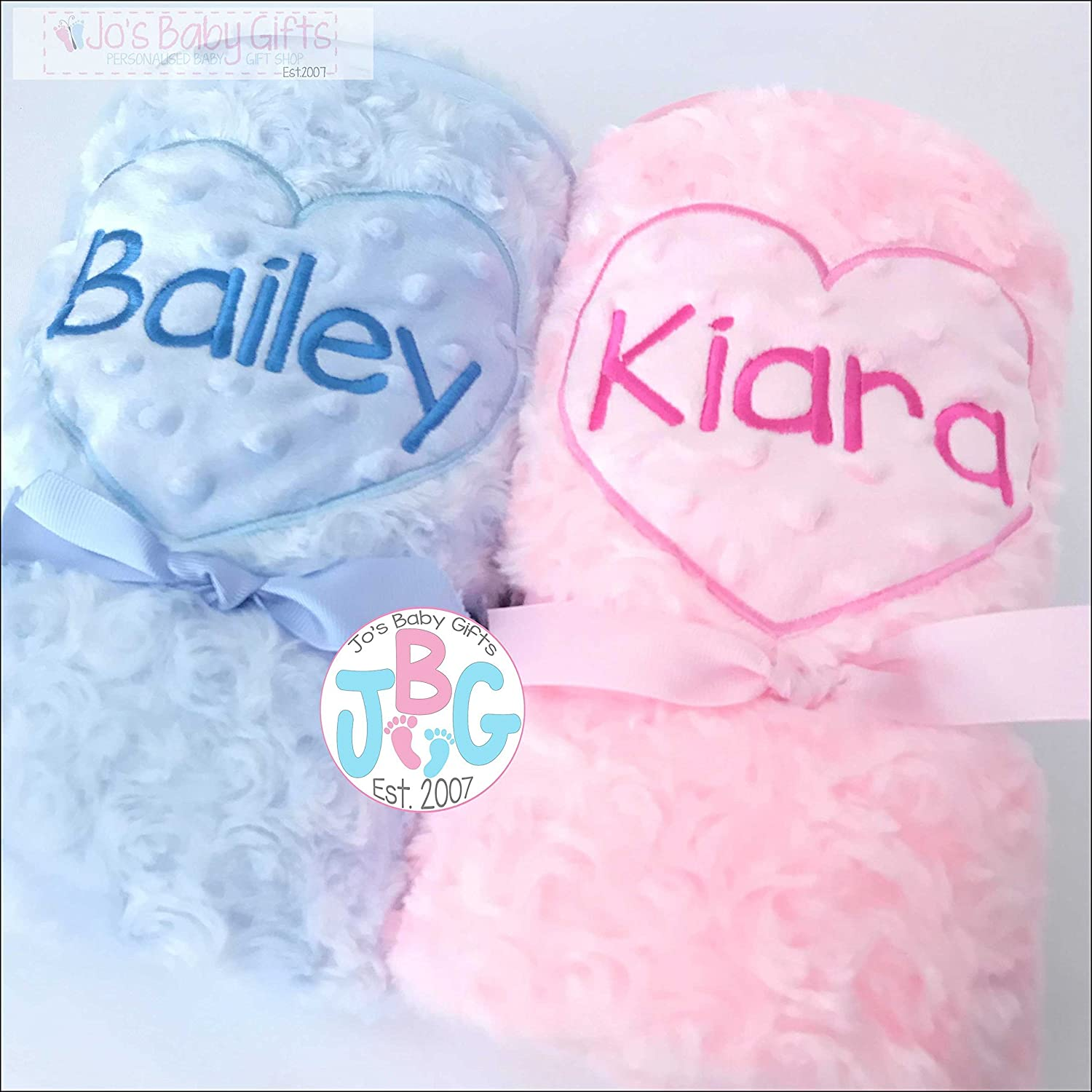Luxury Personalised Fluffy Baby Blanket, Pink or Blue blanket, Baby Gift, Christening/Baby shower gift