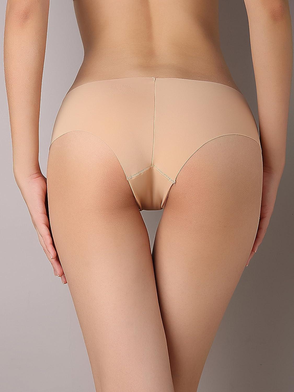SHEKINI Mutandine Slip Brasiliano Invisible Bassa di Colore Puro da Donna Mutande Bikini Basic a Vita Media Perizima Brasiliana Invisibibli a Vita Bassa per Donna Pacco da 6
