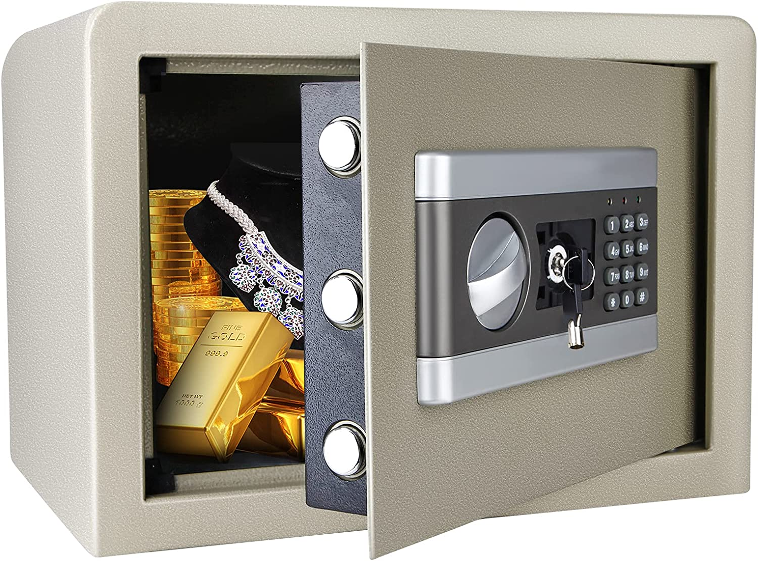0.8 Cub Fireproof Safe Box for Home Office, All-Steel Lock Box with Digital Keypad and Key Lock for Cash Gun Jewelry Document