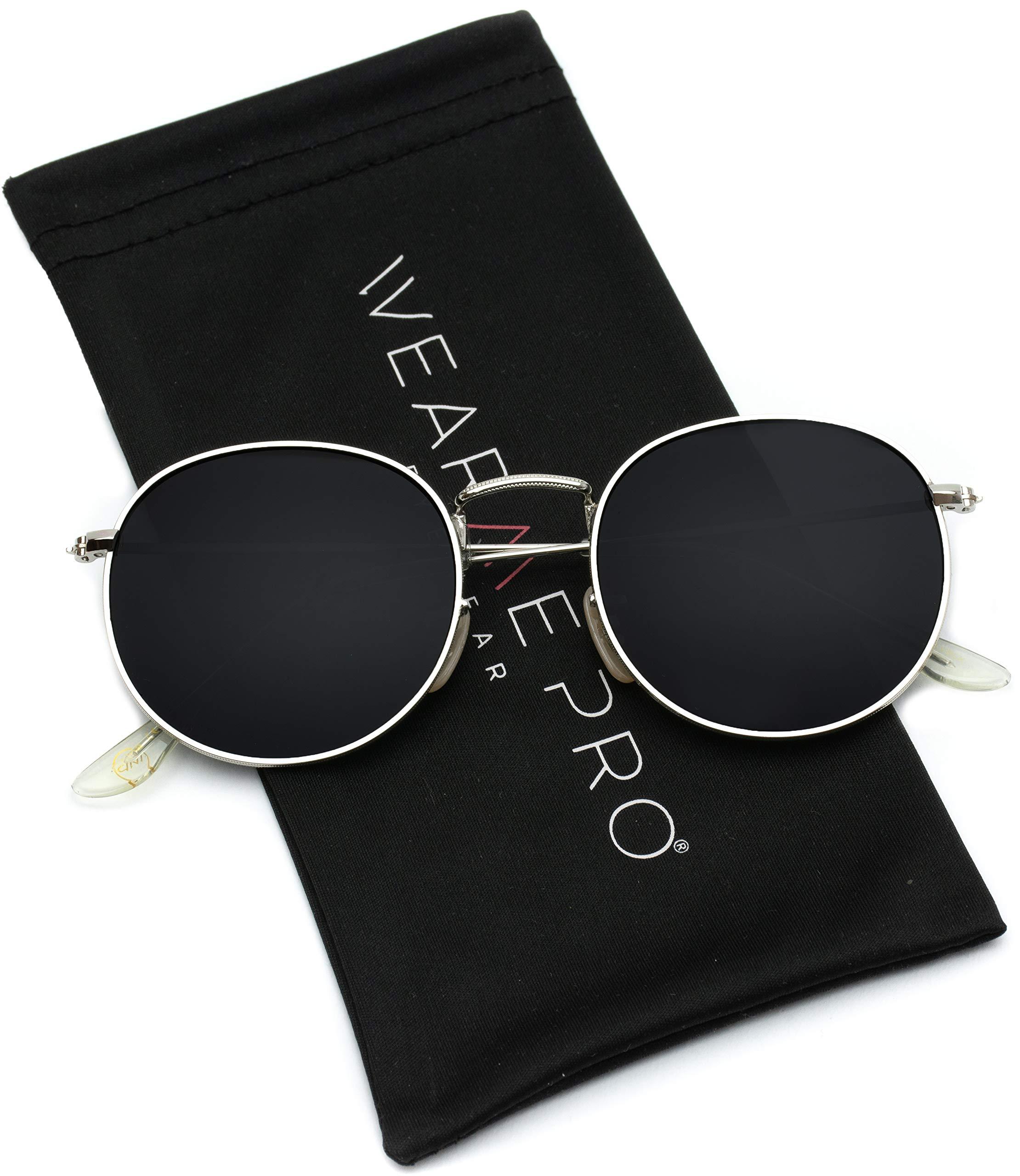 WearMe Pro - Reflective Lens Round Trendy Sunglasses (Silver Frame/Black Lens, 51)