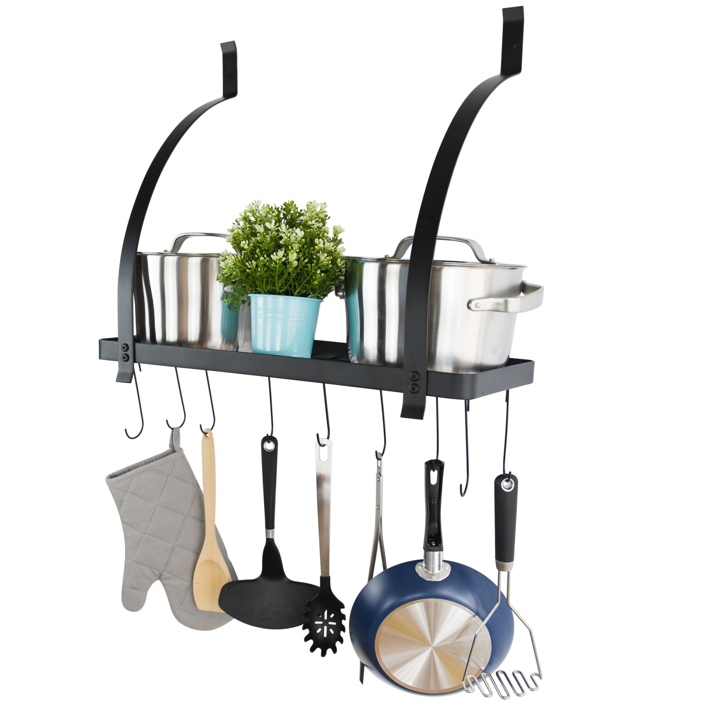 FaithLand Wall Mounted Square Grid Pot Pan Rack with Hooks, Decorative Wall Mounted Storage Rack, Black