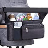 Feltom Baby Stroller Organizer, Universal Stroller Storage Bag with Cup Holders Waterproof and Detachable Phone Bag and Shoul