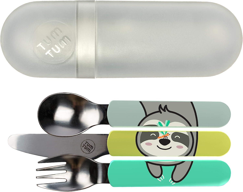 TUM TUM - Cubertería infantil con funda de viaje, juego de cubiertos para niños, sin BPA (Pereza)