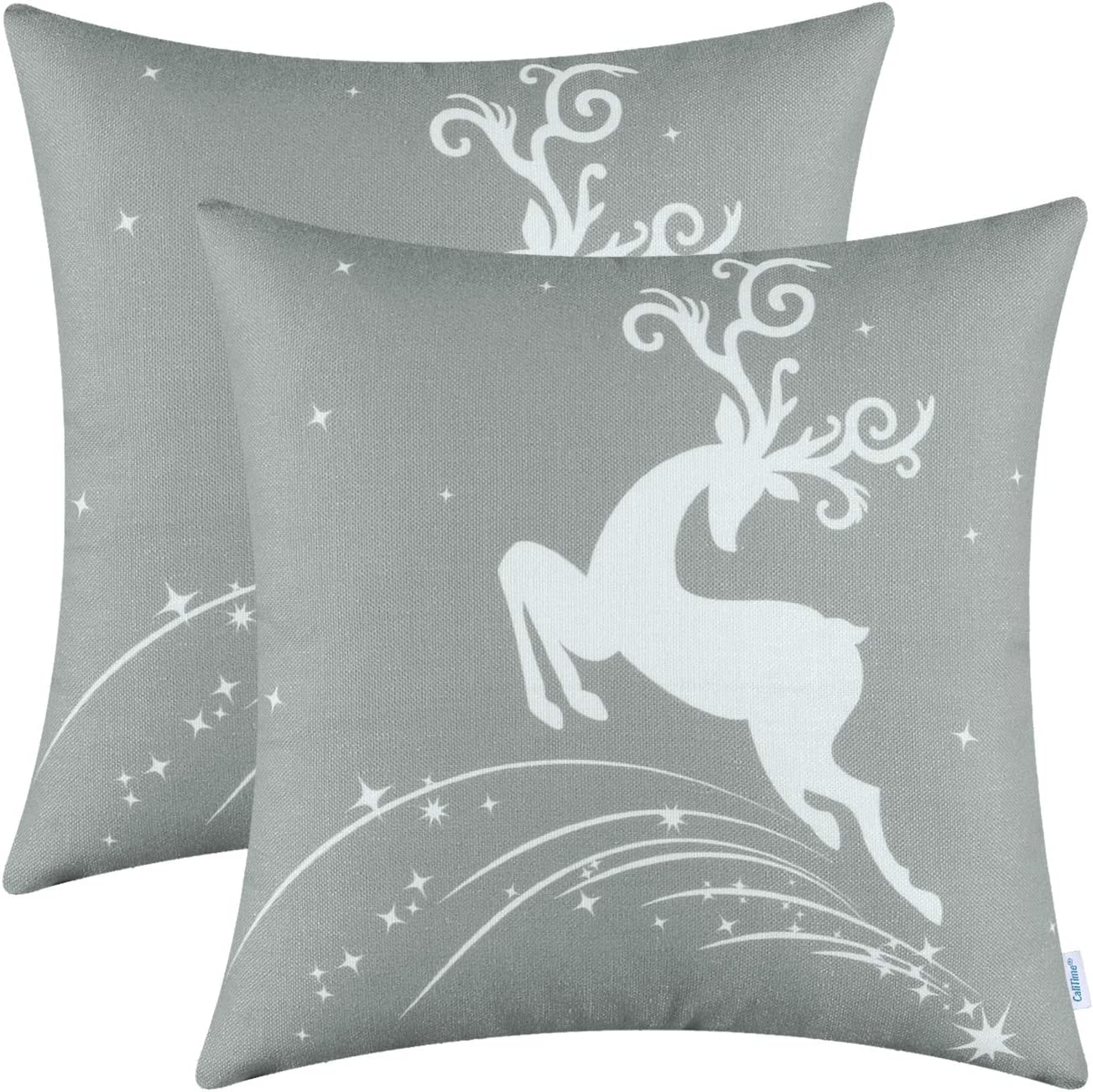 CaliTime Pack of 2 Soft Canvas Throw Pillow Covers Cases for Couch Sofa Home Decoration Christmas Holiday Reindeer Jump with Stars Print 18 X 18 Inches Medium Grey