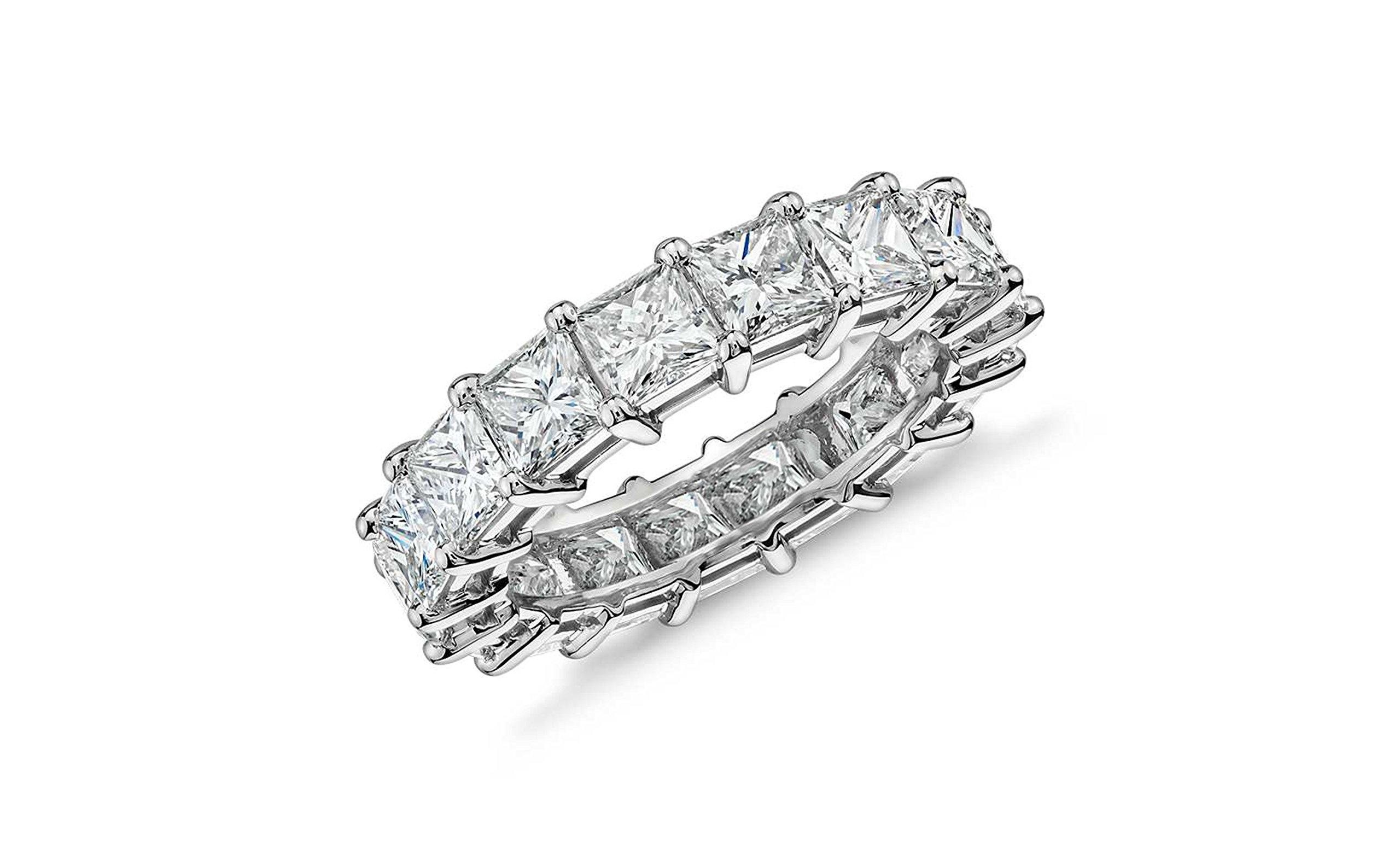 Women 4MM Princess Cut Eternity Wedding Engagement Band, Sizes 5-9 (9)