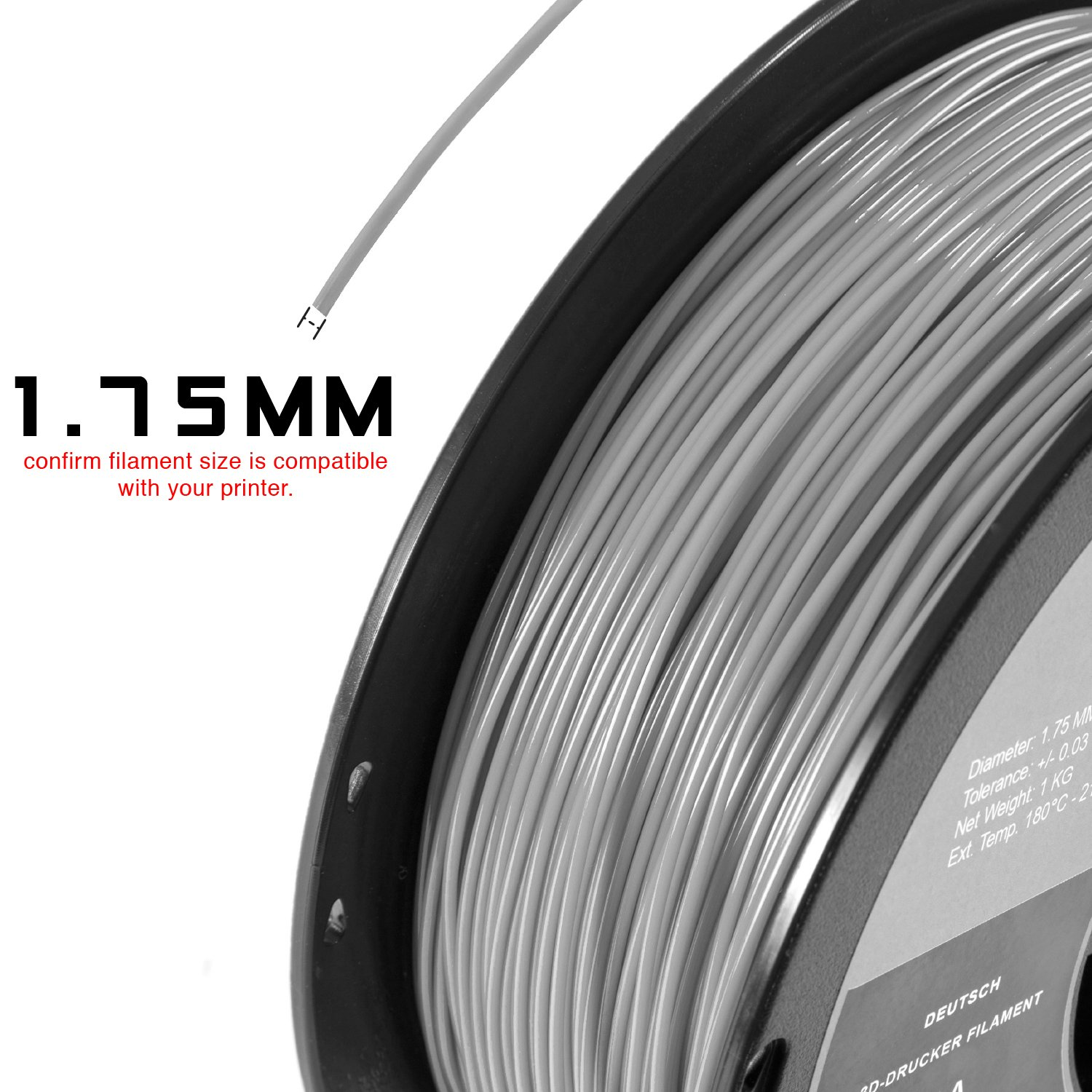 HATCHBOX ABS 3D Printer Filament 1.75 mm Transparent Yellow 3D ABS-1KG1.75-TYLW Dimensional Accuracy +//- 0.03 mm 1 kg Spool