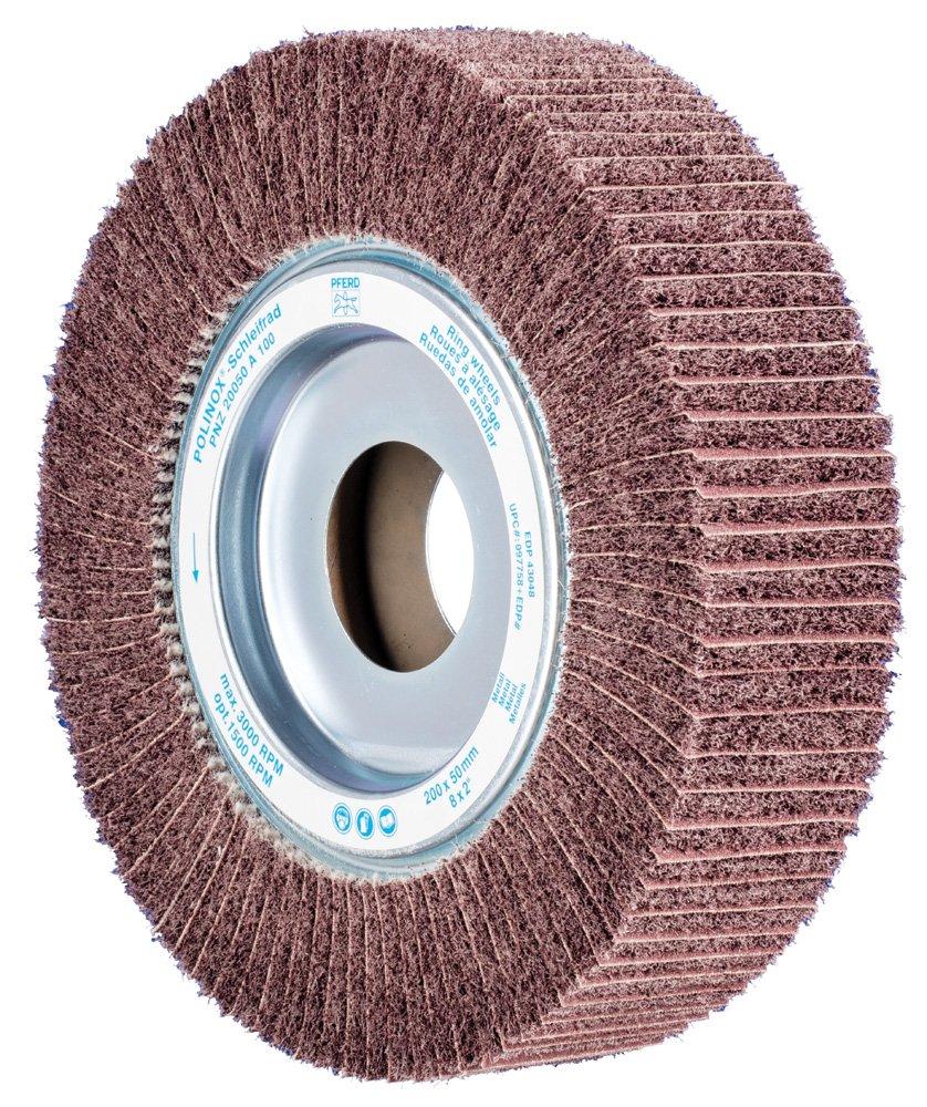 Aluminum Oxide A 1-3//4 Arbor Hole 100 Grit PFERD 43048 PNZ Non-Woven Abrasive Flap Wheel 8 Diameter x 2 Width 3000 Maximum RPM
