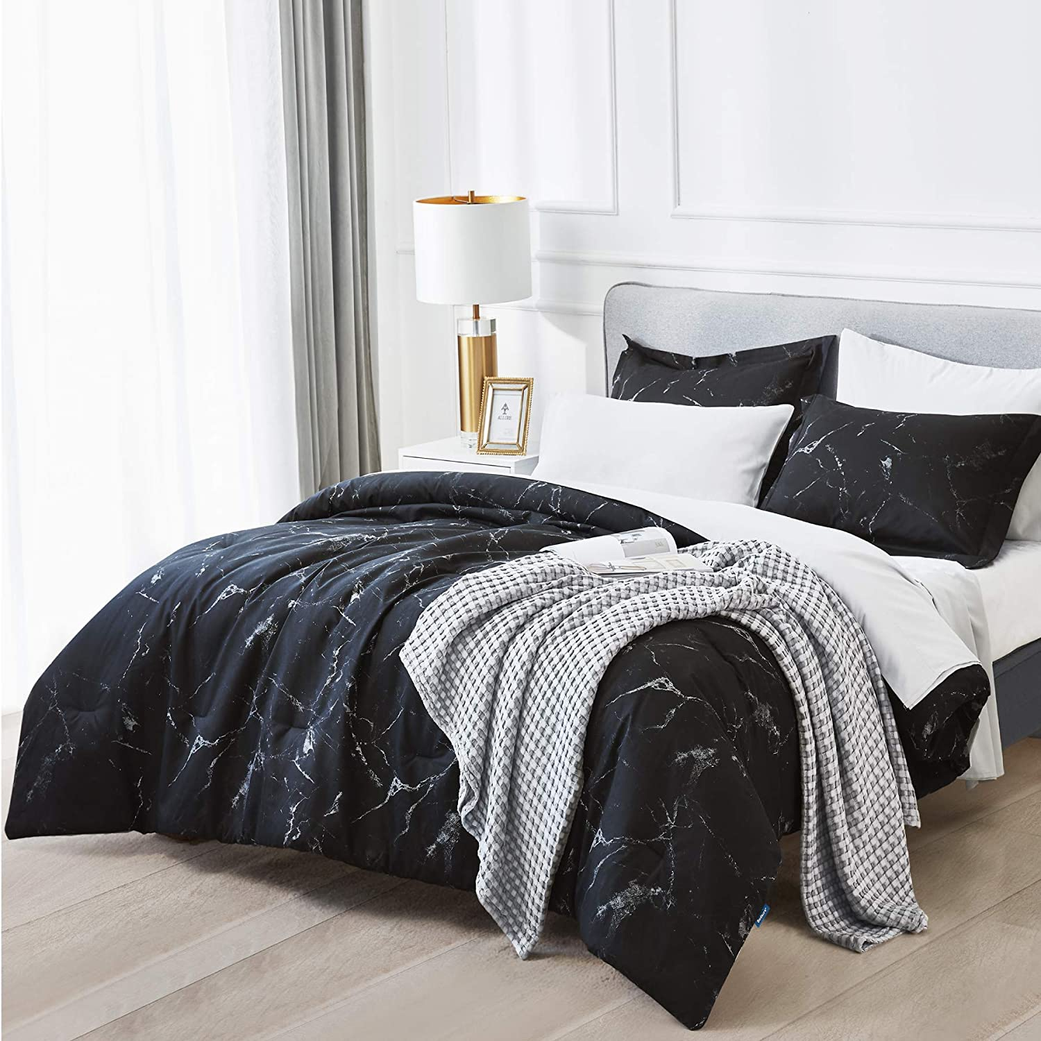 Bedsure Marble Printed Comforter Set (Twin, Black) - 2 Piece Sets - Super Soft Microfiber Bedding for All Seasons - Reversible Down Alternative Comforter with 1 Pillow Sham