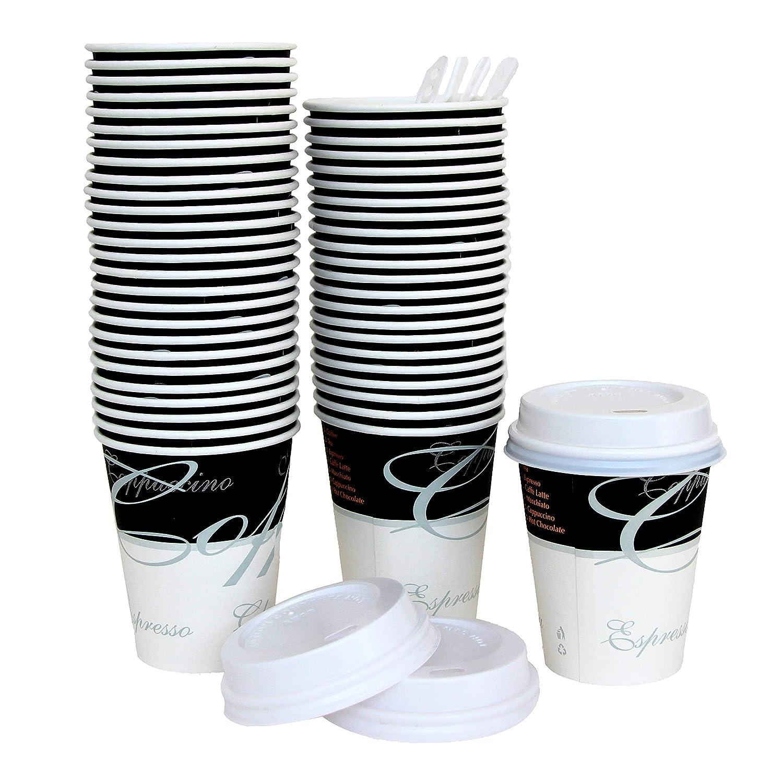 Tazze Monouso RIPPLE Tazze con coperchio per caff/è e bevande da asporto Tre Strati di Isolazione 25 Tazze con Coperchio a tenuta stagna 12oz