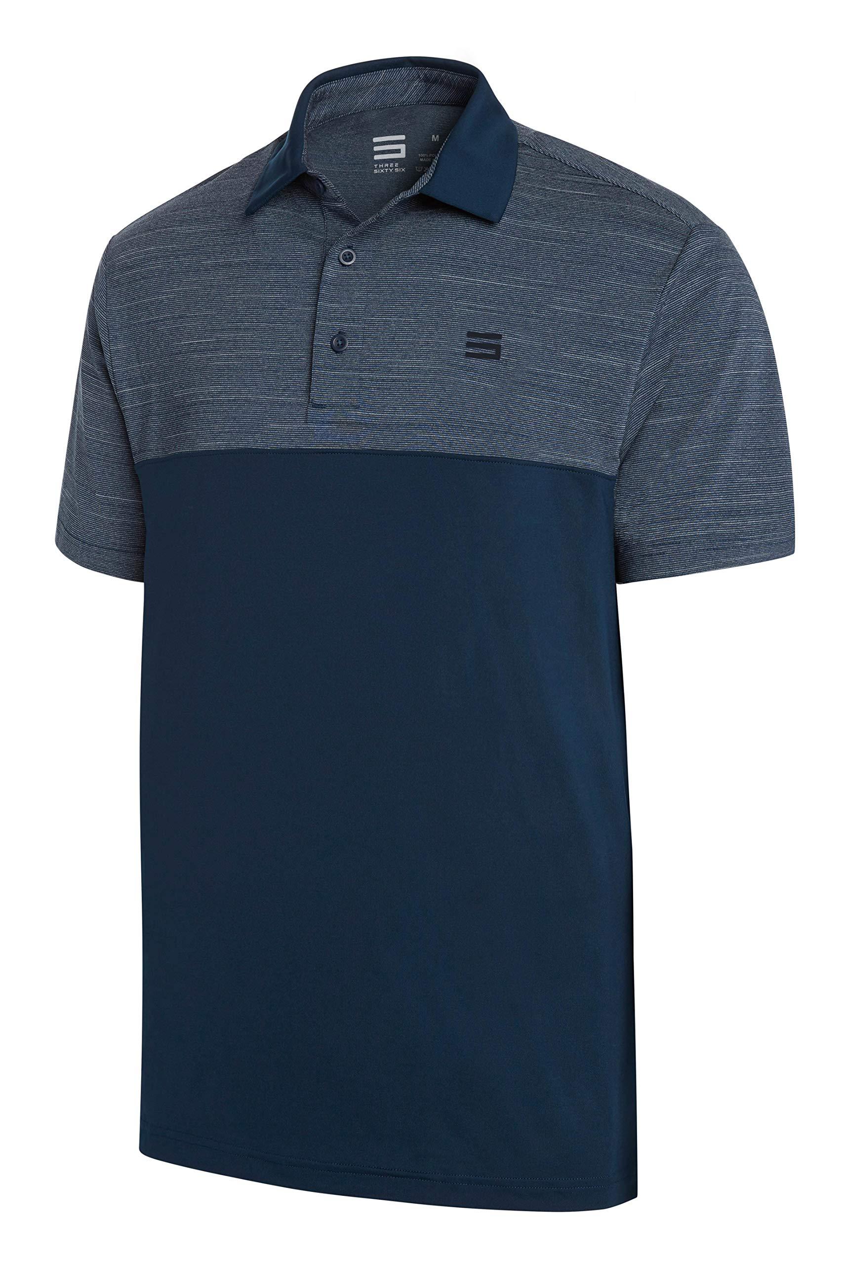 Three Sixty Six Dri-Fit Golf Shirts for Men - Moisture Wicking Short-Sleeve Polo Shirt Midnight Blue by Three Sixty Six