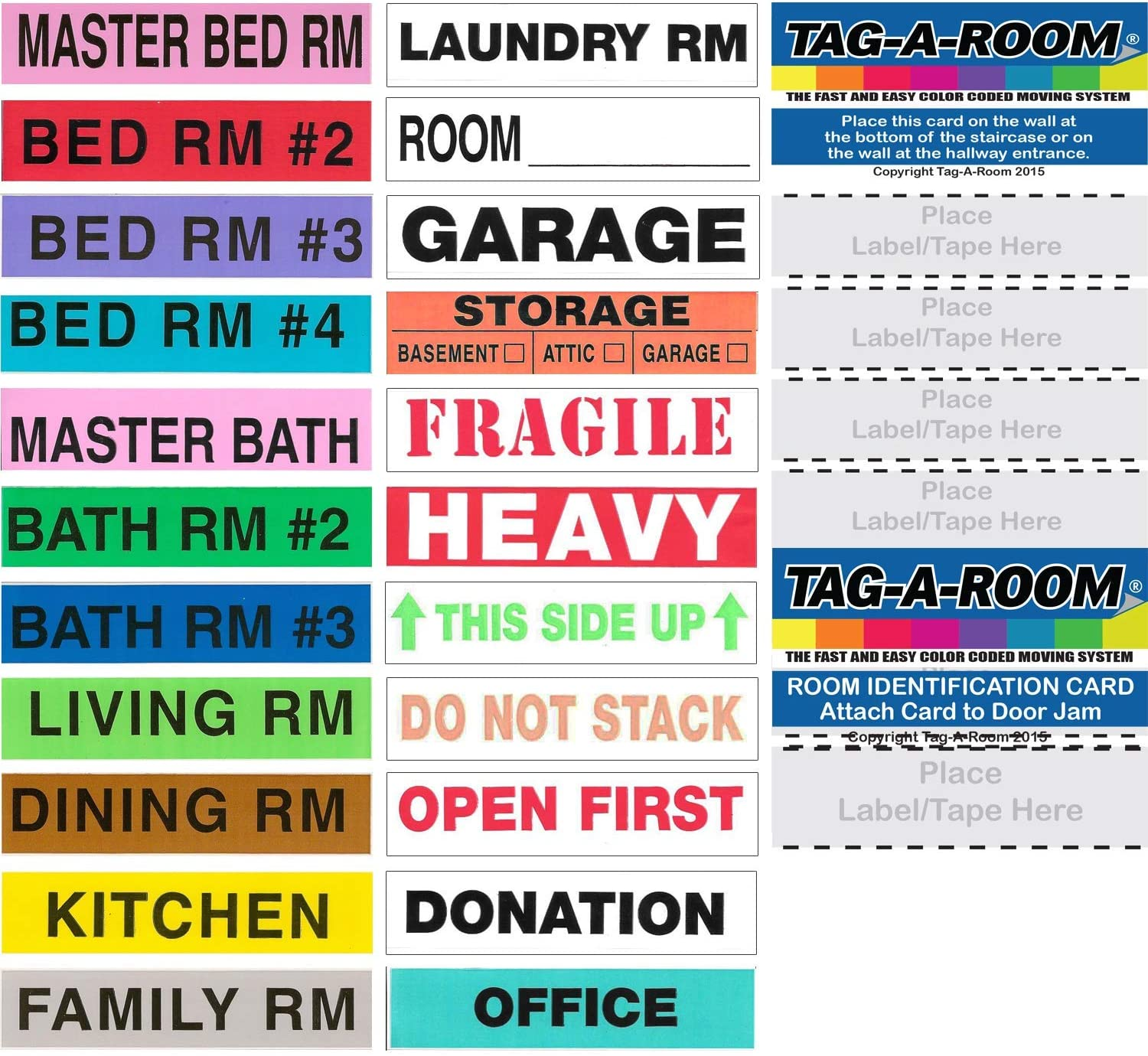 50 Count Moving Supplies Tag-A-Room Heavy Color Coded Moving Label