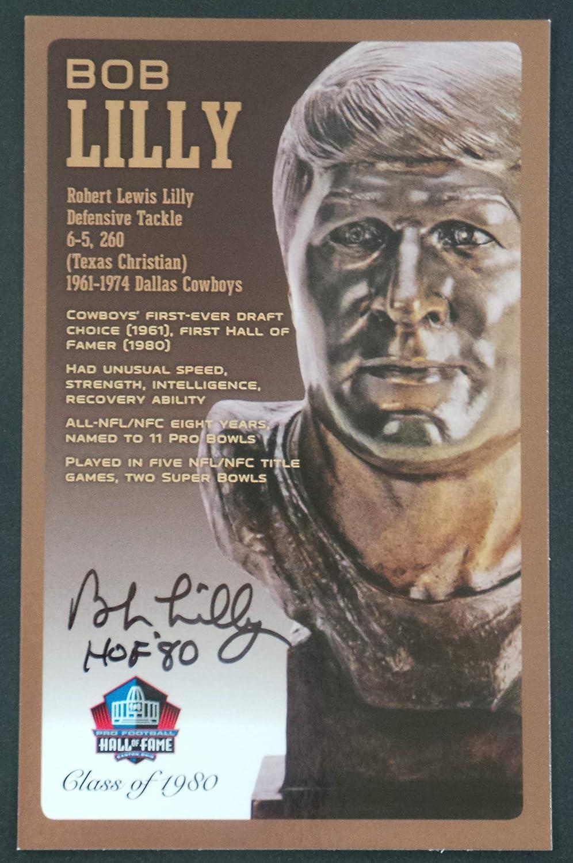Pro Football Hall von Fame Bob Lilly Signed Nfl Bronze Bust Satz Autographed Card mit Coa (Limited Edition # von 150)