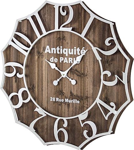 Amazon Com American Art Decor Antiquite De Paris 28 Rue Murillo Wood And Metal Oversized Vintage Wall Clock 27 Home Kitchen