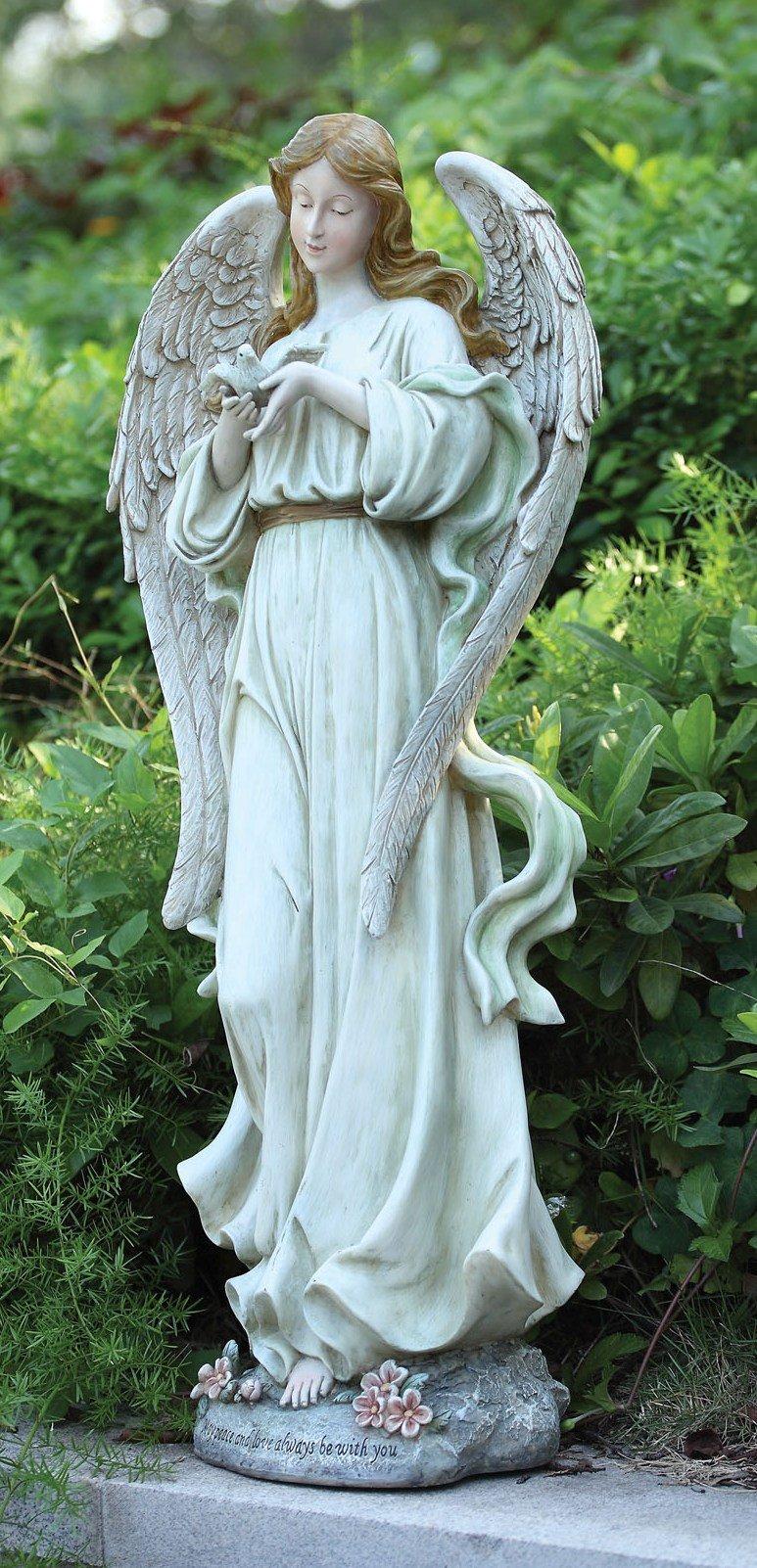 Angel with Bird Stone Indoor/Outdoor Garden Statue