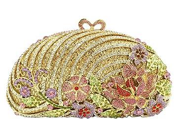 Bolso Mujer Noche Bolsas Fiesta Boda Carteras Brillo Mano Diamantes Cadena Embrague Flores Dorado: Amazon.es: Equipaje