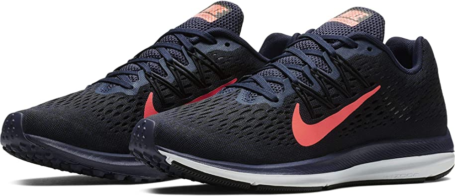 Nike Women's Air Zoom Winflo 5 Running Shoe, Blackened BlueFlash Crimson Black, 10