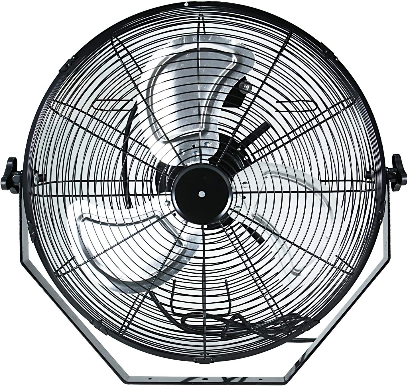Simple Deluxe 18 Inch Industrial Wall Mount Fan, 3 Speed Commercial Ventilation Metal Fan for Warehouse, Greenhouse, Workshop, Patio, Factory and Basement – High Velocity – ETL Listed