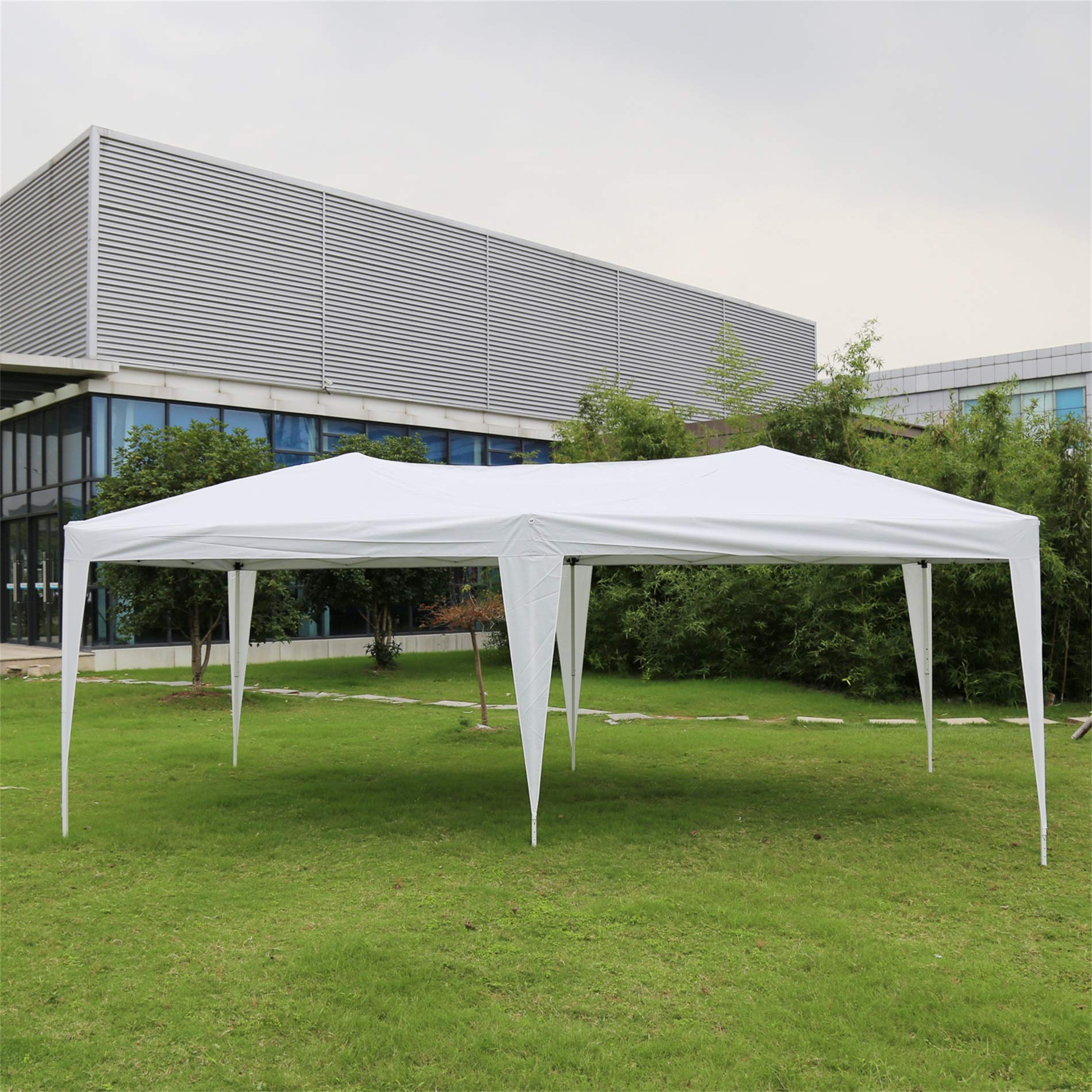 Kinbor 10' x 20' Outdoor White Waterproof Gazebo Canopy Tent for Party Wedding Events Beach BBQ