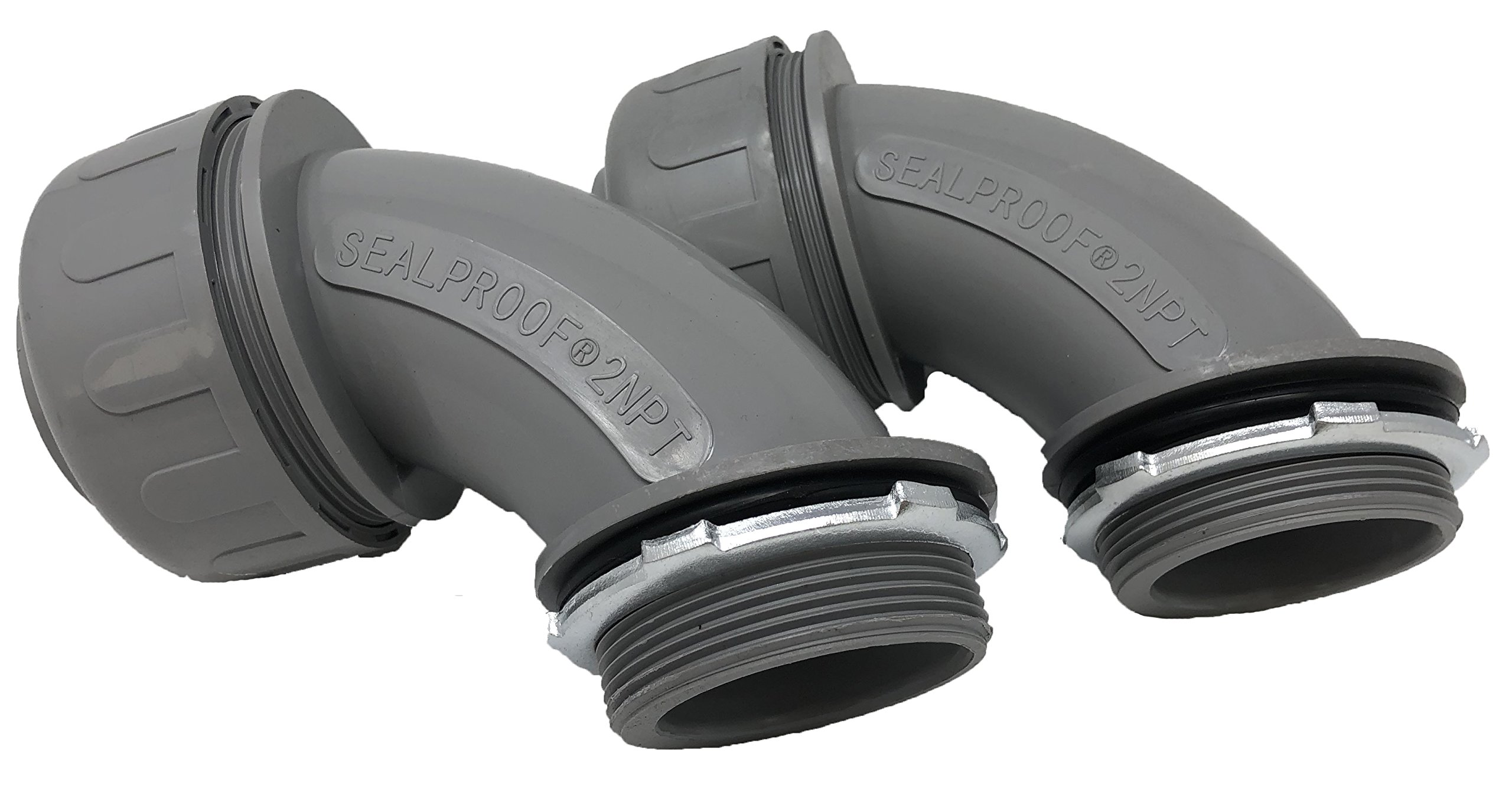 Sealproof 2-Inch 2 Pack Non-Metallic Liquid-Tight 90-Degree Conduit Connector Fitting, 2'' Dia 2-Pack