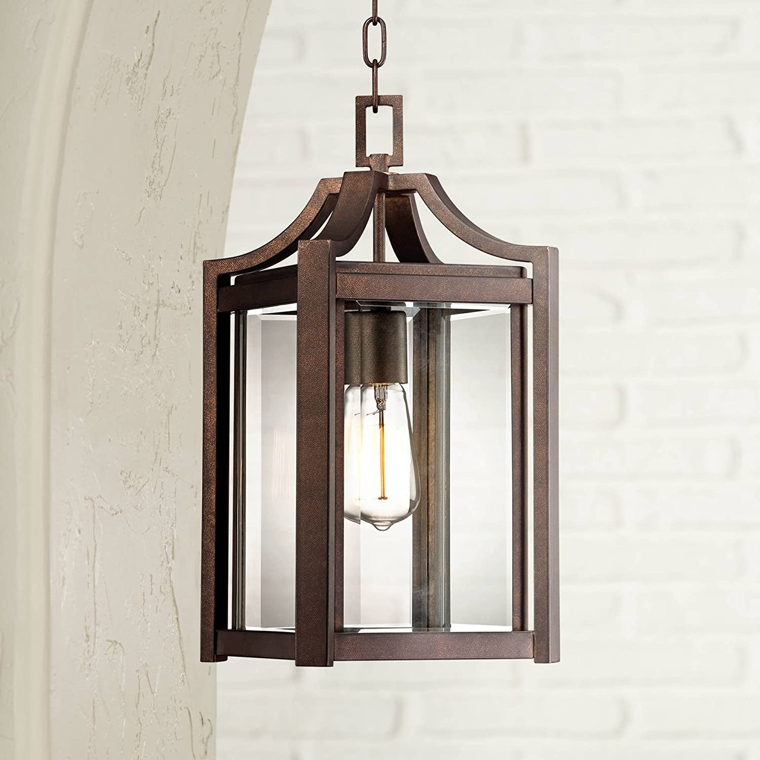 Rockford Modern Farmhouse Rustic Outdoor Ceiling Light Hanging Rustic Bronze 17 Clear Glass Damp Rated For Exterior House Porch Patio Outside Deck Garage Front Door Home Roof Franklin Iron Works