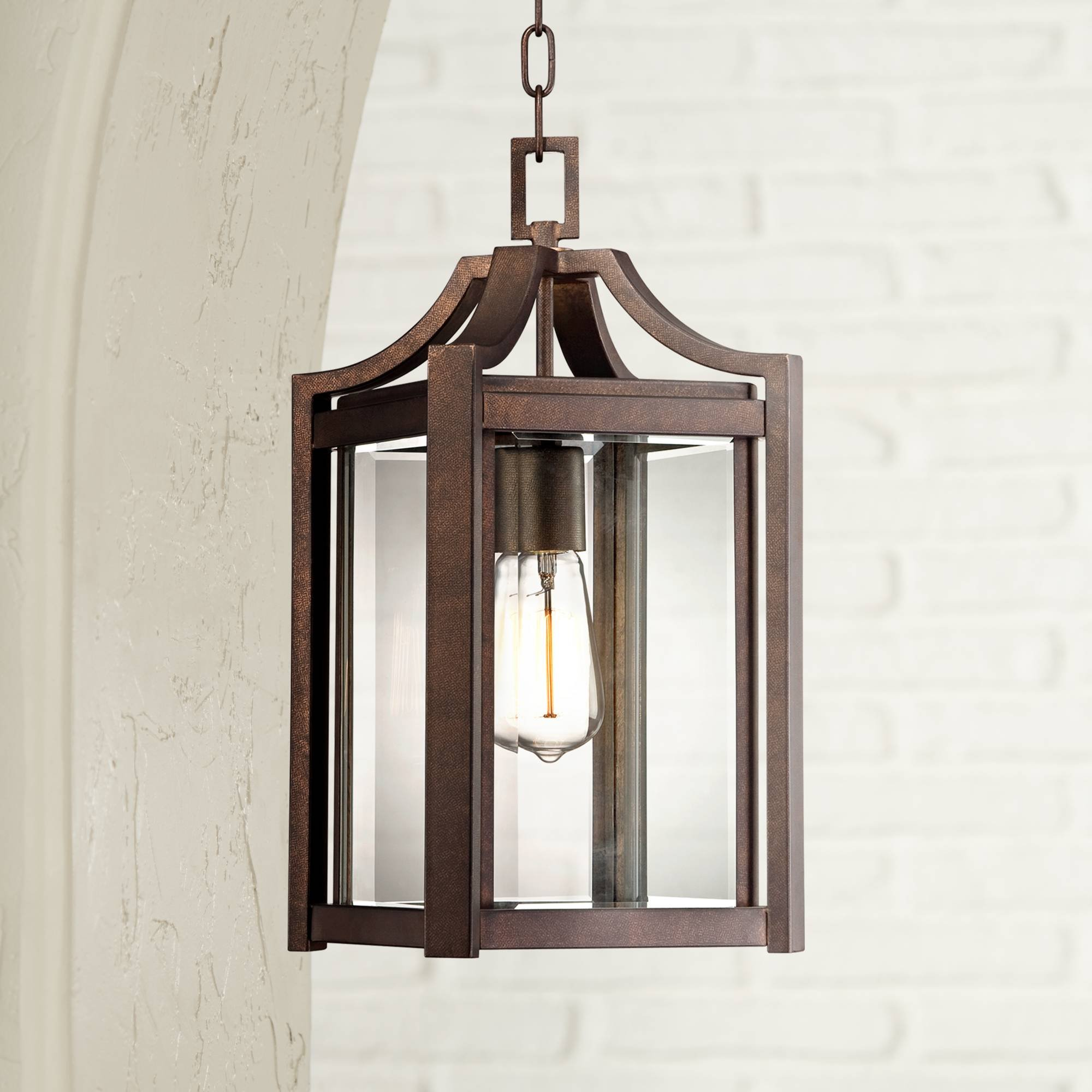 Rockford Modern Outdoor Ceiling Light Hanging Rustic Bronze 17'' Clear Glass Damp Rated for Exterior Porch Entryway - Franklin Iron Works