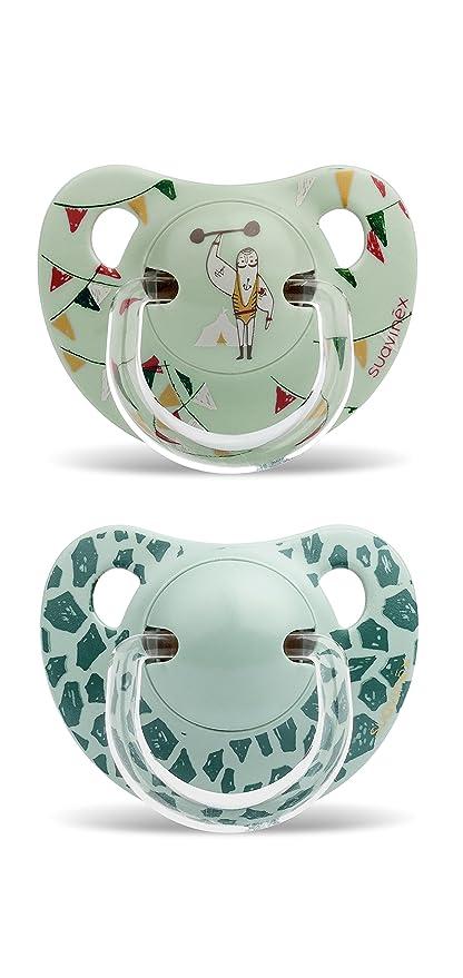 Suavinex 303913 - Pack de 2 chupetes 6-18 meses, tetina de látex, color verde