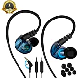 running Sports earbud Headphones Wired Over Ear In Ear Headsets Noise Isolation waterproof Earbuds Enhanced Bass Stereo Earphones with Microphone and Remote for Running Jogging Gym (BLUE)