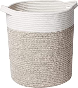Syeeiex Rope Laundry Basket 14''x 14''x 16'' Cotton Rope Basket for Blankets Jute Rope Basket with Handles for Living Room Nursery,White & Desert.