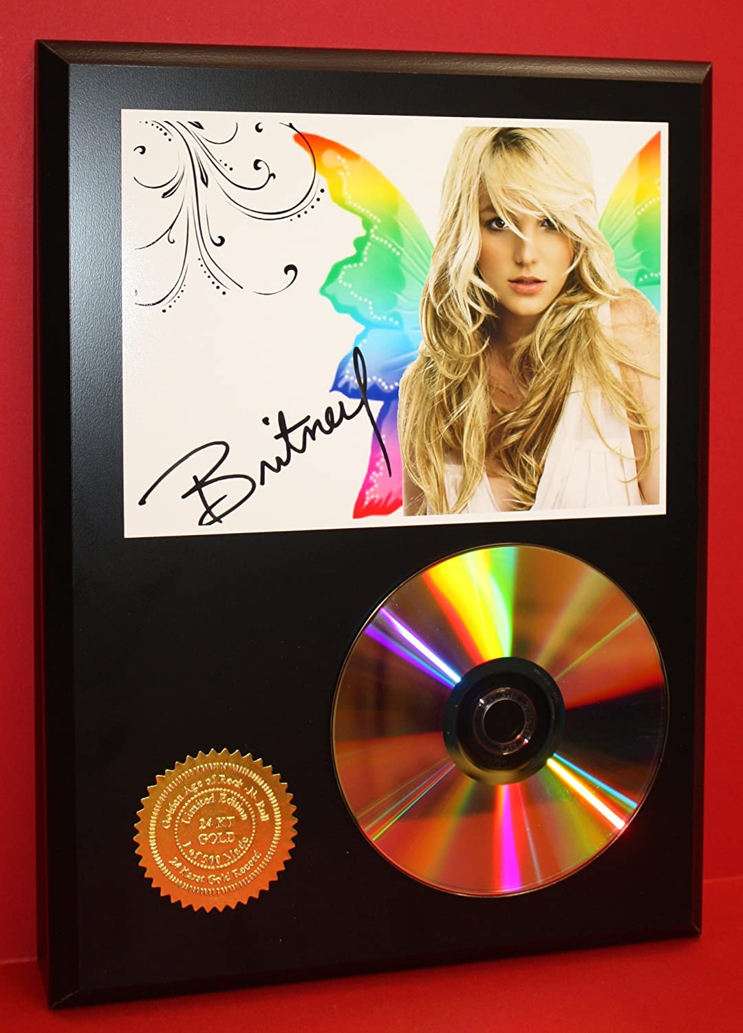 Britney Spears Butterfly Limited Edition 24Kt Gold Rare Collectible Disc Award Quality Music Display Gold Record Outlet