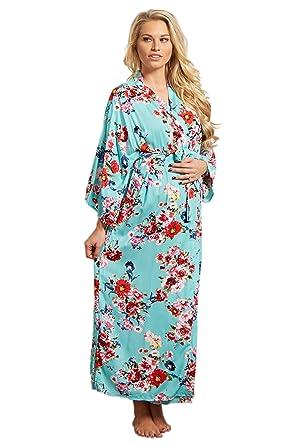 2a7ddc8efa PinkBlush Maternity Aqua Floral Long Dressing Robe