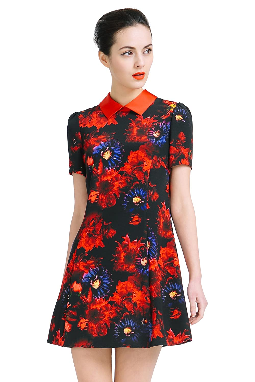 VOA Women's Silk Red Floral Print Short Sleeve Shirt Mini Dress A6812