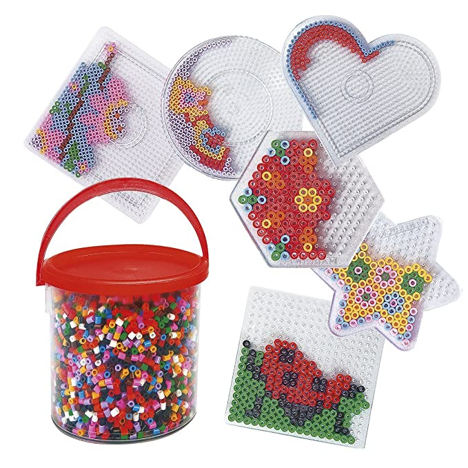 Playbox Bügelperlen-Set - Perlenbilder bügeln - mit Steckplatten, Motiv-Vorlagen & Perlen - Kinder-Spielzeug - ideale Selbstb